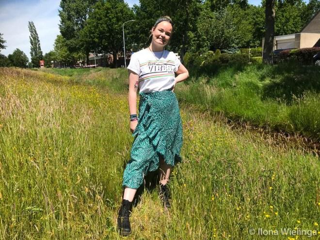 groene midirok shein outfit 7