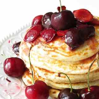 Pancakes with Lime Cherry Sauce