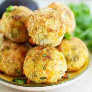 Baked Rice Balls with Avocado Cilantro Dip (Arancini)