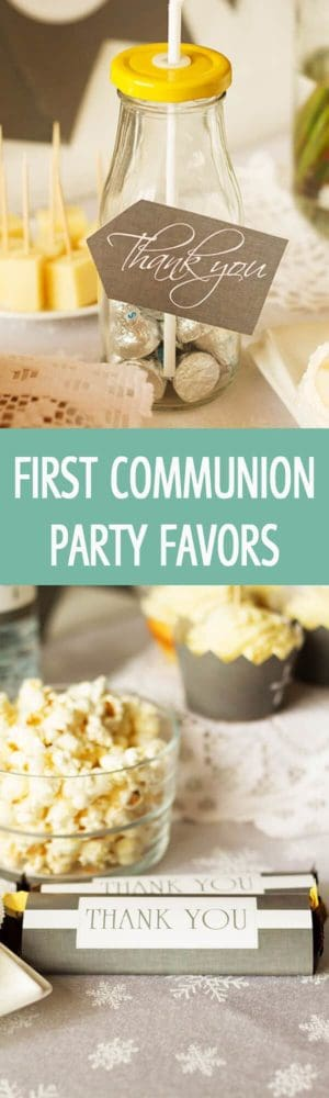 First Communion party favors including chocolate bar wrapper and jar with sweet chocolate kisses. 2 printable gift ideas for First Holy Communion by ilonaspassion.com I @ilonaspassion