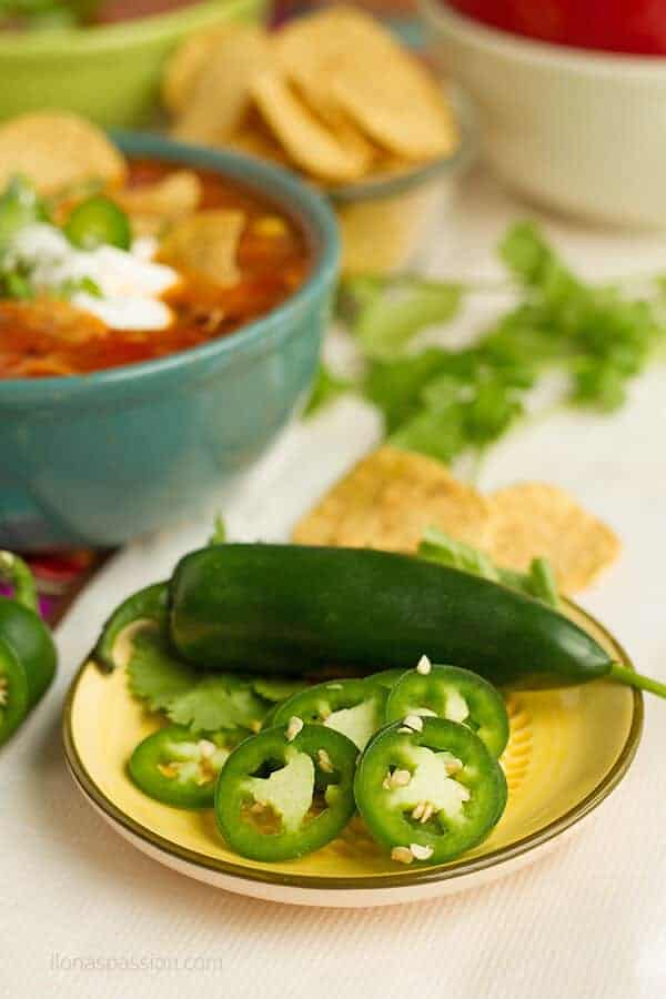 Mexican inspired party with taco chicken soup and jalapenos.
