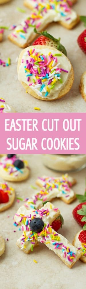 Easter Cut Out Sugar Cookies recipe made only with few ingredients, topped with cream cheese frosting and sprinkles by ilonaspassion.com I @ilonaspassion