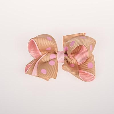 Τσιμπιδάκι κλιπ, μπεζ, ροζ πουά