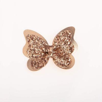 Tσιμπιδάκι κλιπ, πεταλούδα, γκλίτερ, ροζ- χρυσό