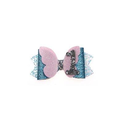 Τσιμπιδάκι, κλιπ, πεταλούδα ροζ, γκλίτερ μπλε, μύτες άσπρο-γαλάζιο