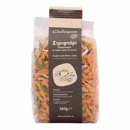 Gemelli with tomato, carrot and spinace.
