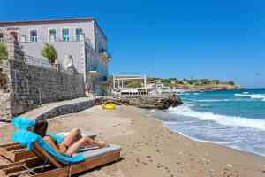 beach at Thalassa Boutique Hotel, Rethymno Town - Crete - Greece