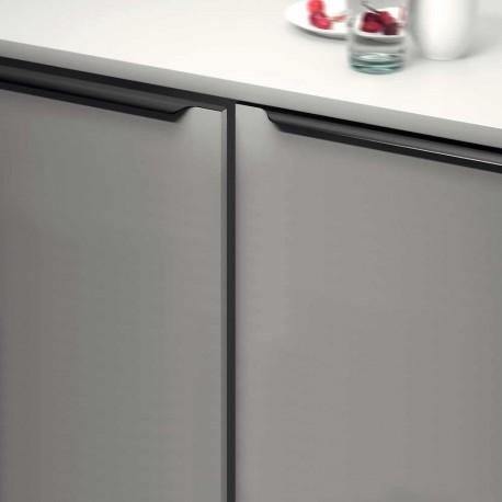 poignee de meuble profil noir brosse bords arrondis