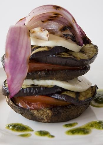 Noah's Eggplant Napoleon with pesto sauce