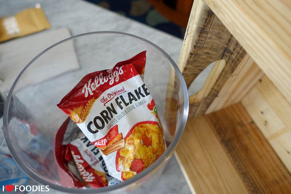 Small packets of Kellogg's Corn Flakes