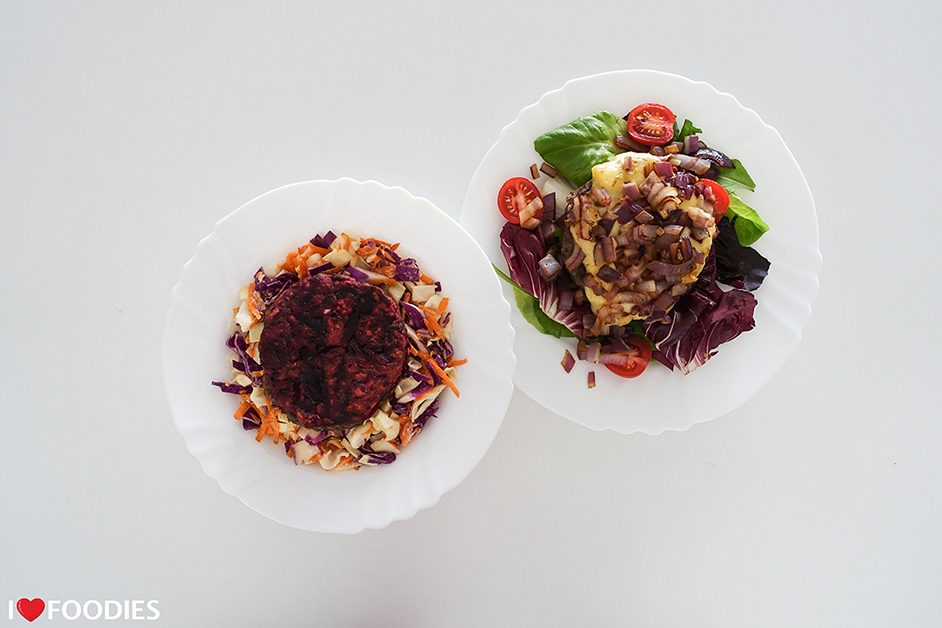 Naked Leaf Vegan Burger Patties - Beetroot & Bean and Mushroom & Lentil Top Shot