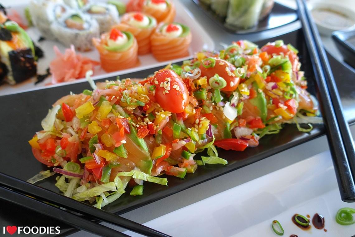 """""""Do the salmon salsa"""" - sushi salmon salad with salsa"""
