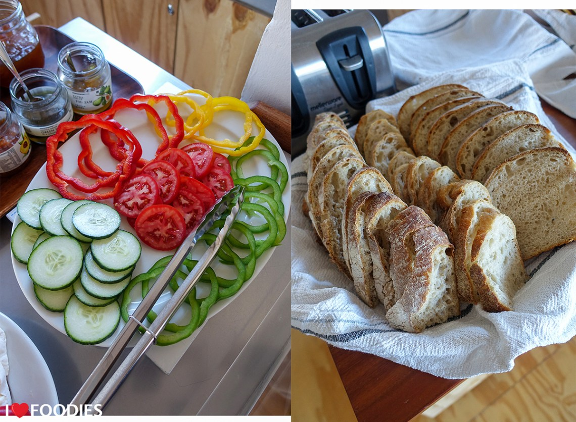 Vegetables and breads