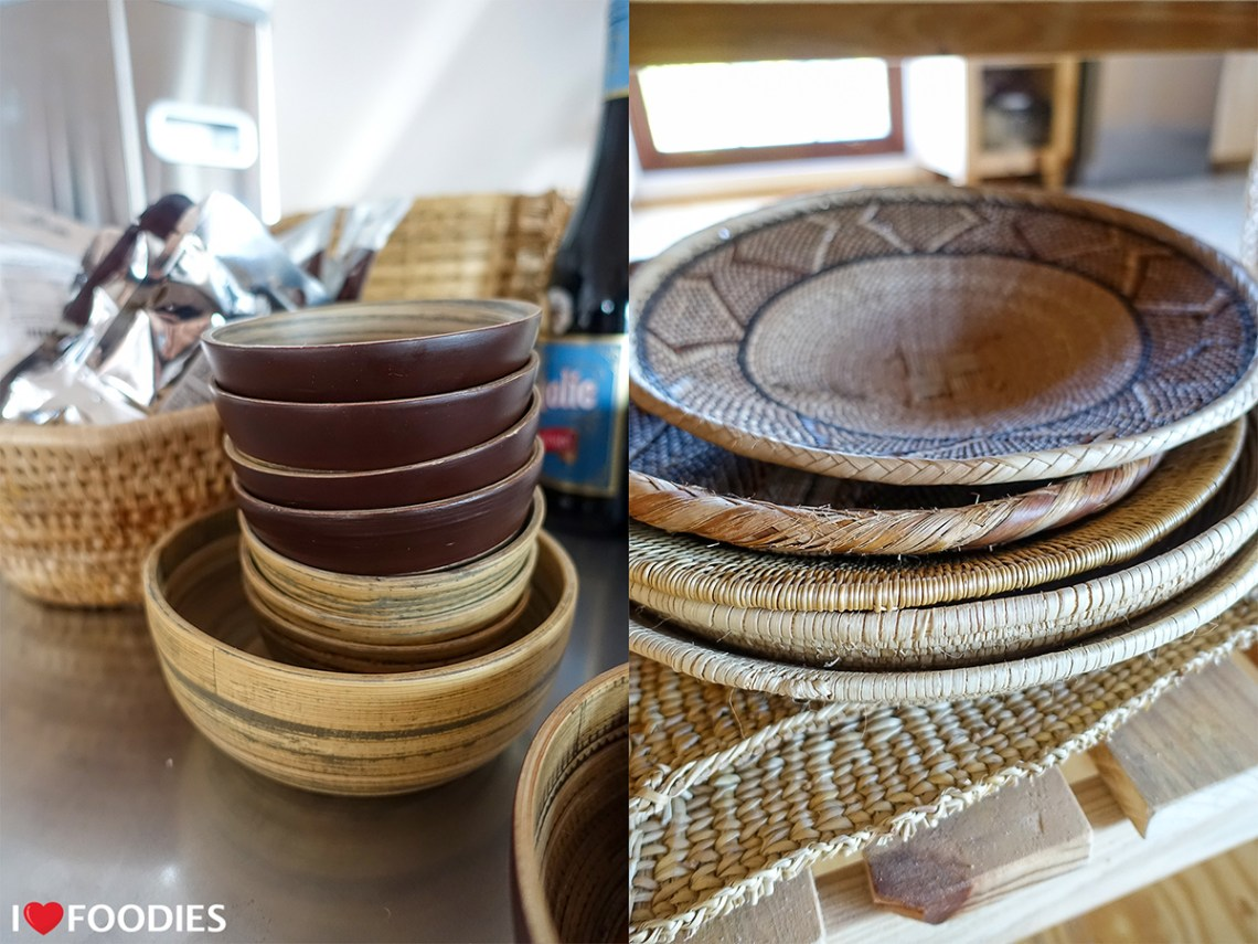 Wooden baskets and bowls at Gonana Guesthouse
