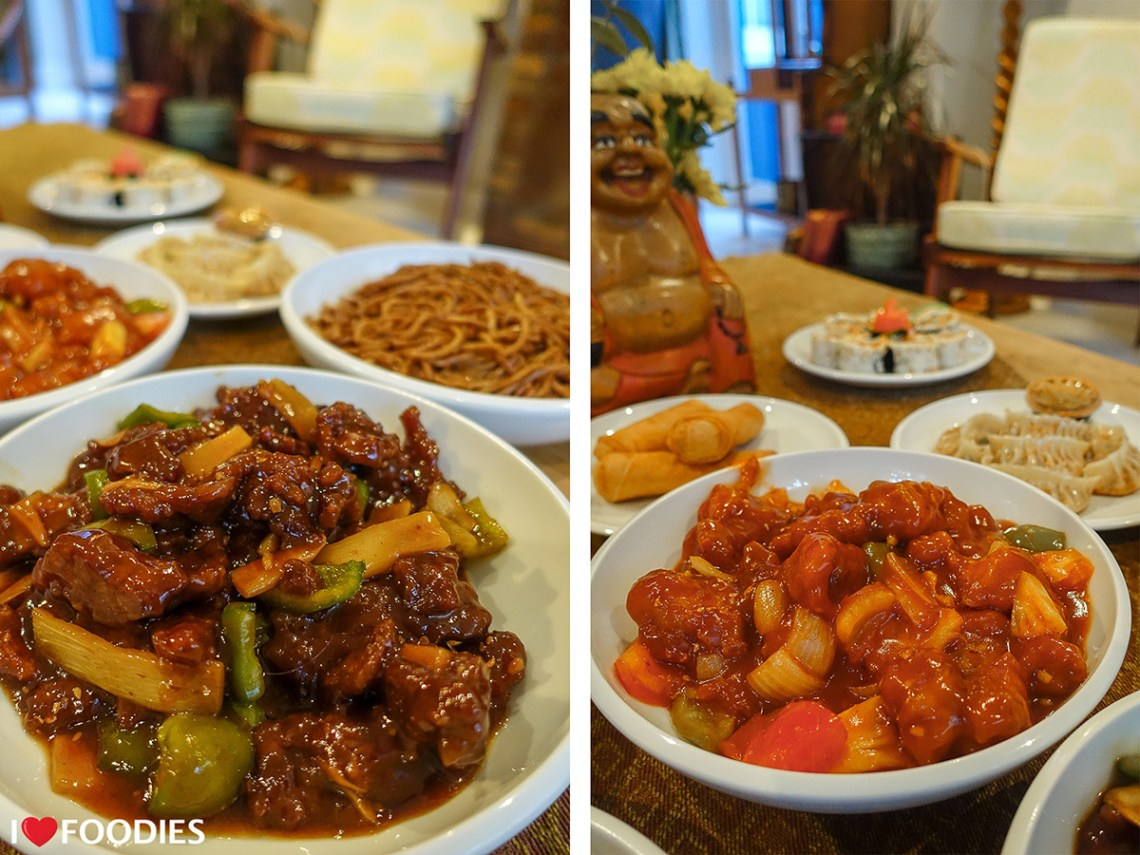 Oyster beef and sweet & sour chicken