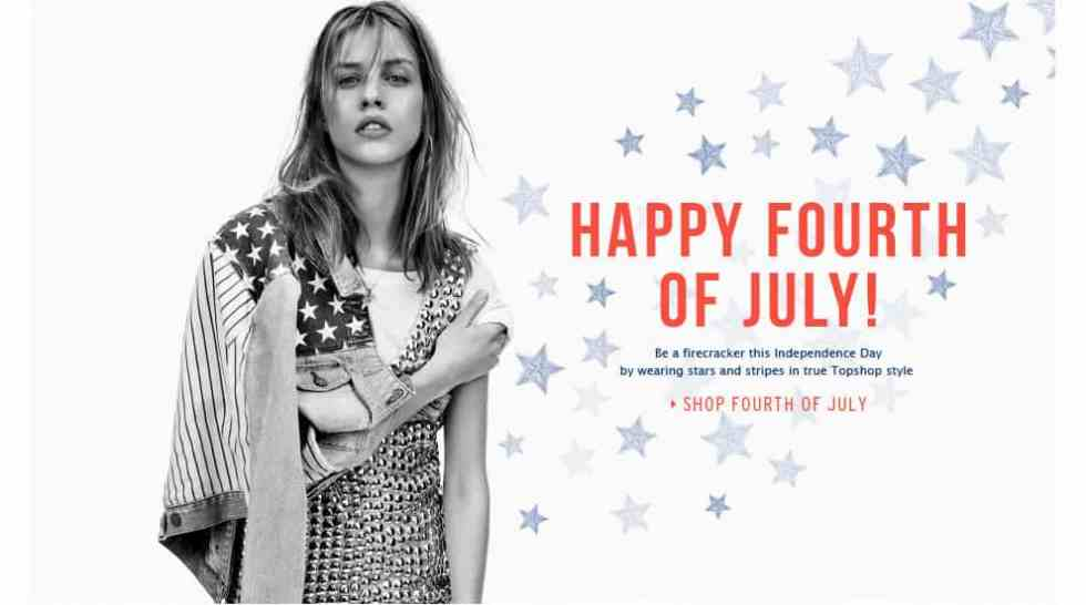 TOPSHOP HAPPY FORTH OF JULY
