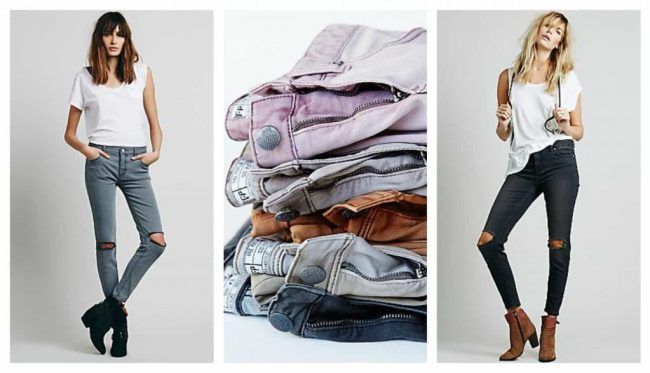 free people distroyed jeans, soft colours