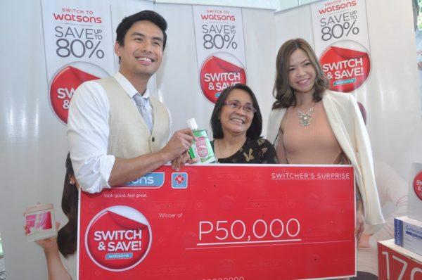 Endorser Christian Bautista and Watsons Group Marketing Manager Karen Fabres with the grand winner of Switcher's Surprise Angie Mendoza