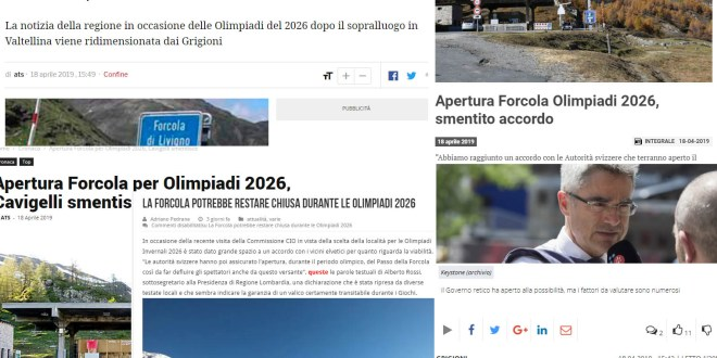 Forcola e Olimpiadi 2026: la replica di Antonio Rossi