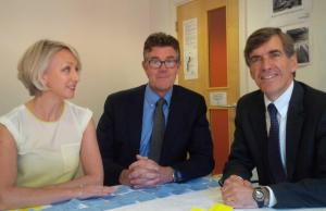 David Rutley MP with Jo Wise (left) and Nick Hynes (centre)