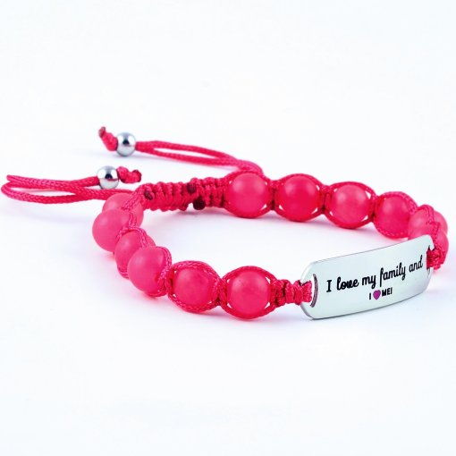 I Love My Family And I Love Me - Ruby Pink Jade Bracelet