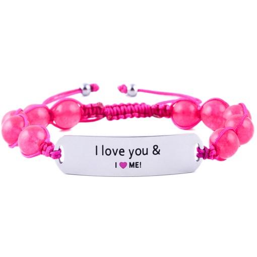 I Love You And I Love Me - Ruby Pink Jade Bracelet