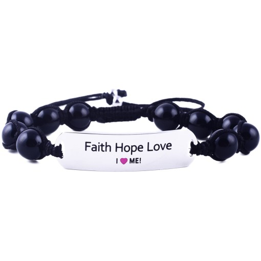 Faith Hope Love - Black Onyx Bracelet