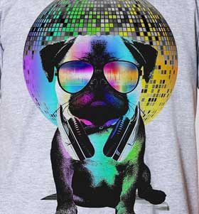 Disco Pug Unisex T Shirt Available In 4 Colours I Love