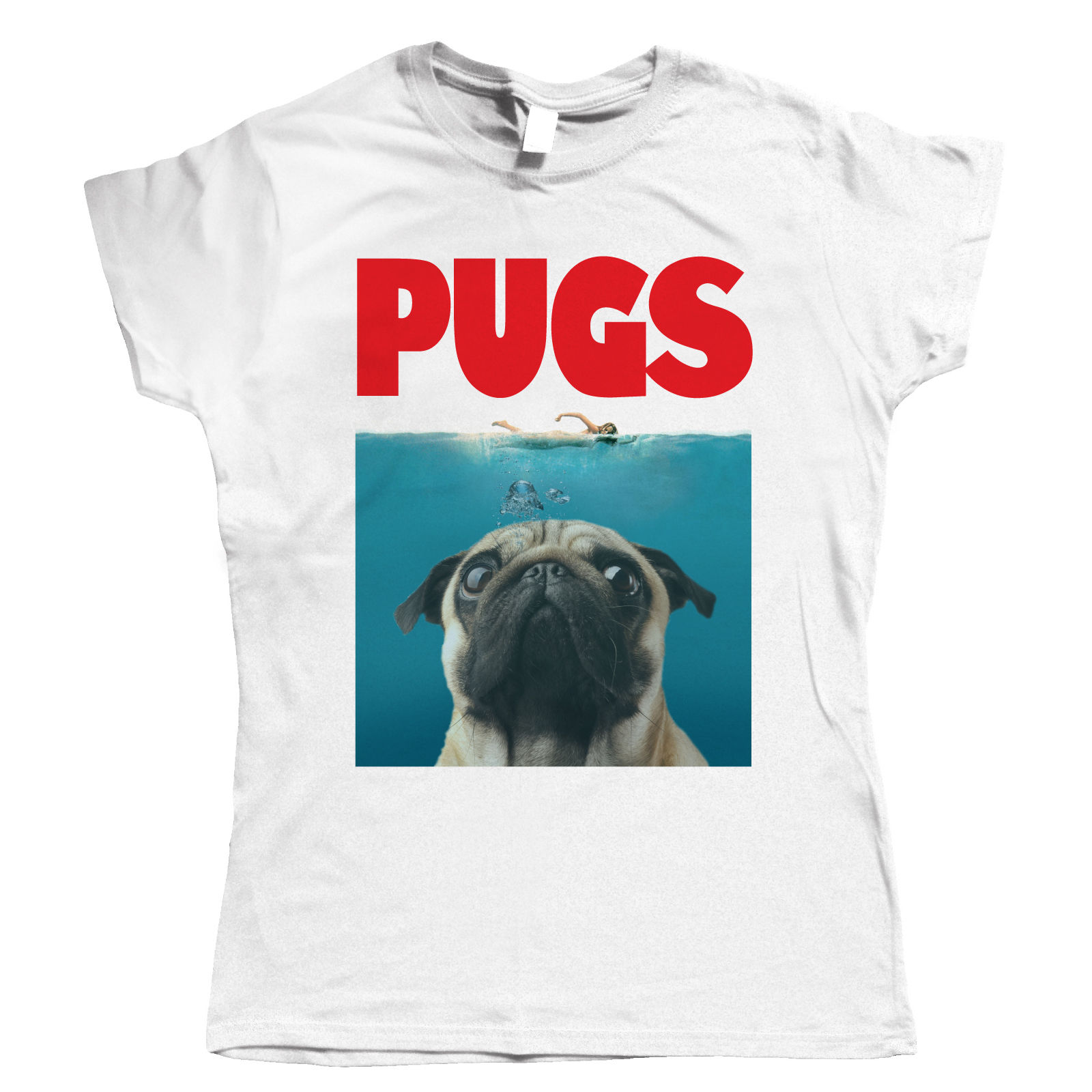 Ladies Jaws Pug T Shirt I Love Pugs