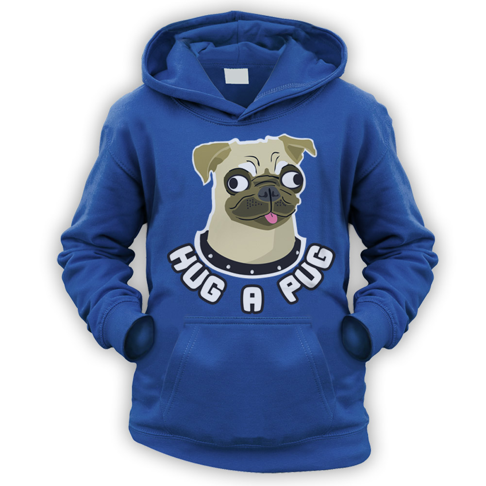 Kids Hug A Pug Hoodie Available In 9 Colours I Love Pugs
