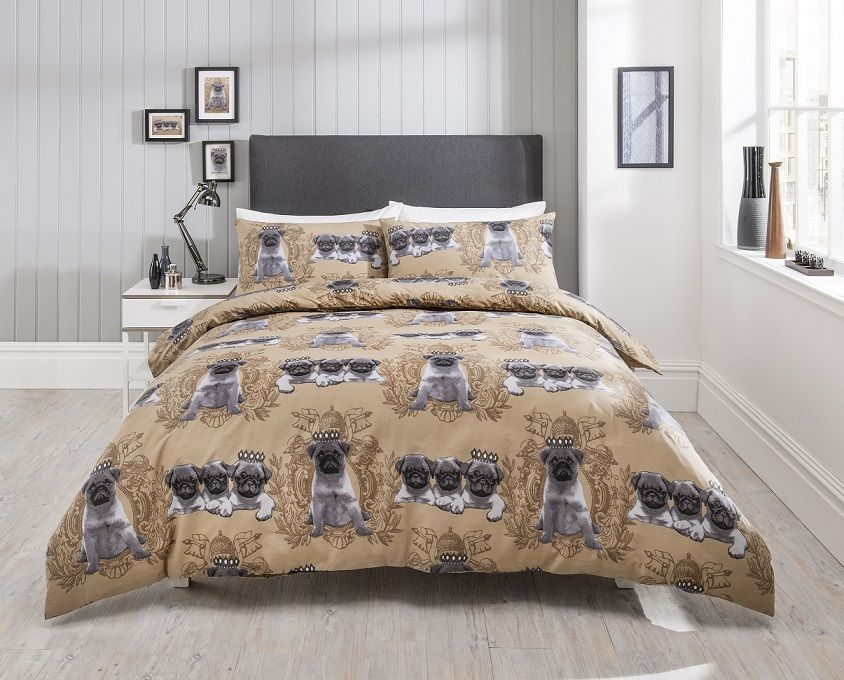 Beige Pug King Size Duvet Set I Love Pugs