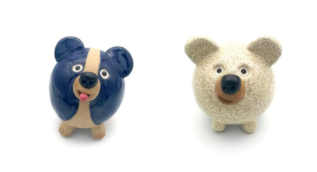 Blue Corgi and Terrazzo Rock Dogs