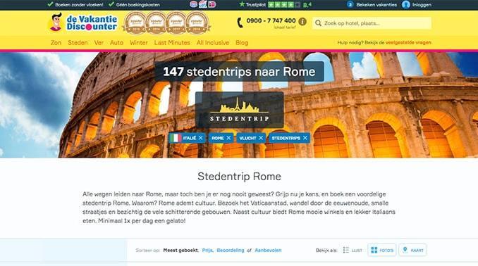 Vakantiediscounter stedentrips naar Rome