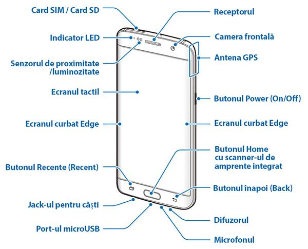 Plan General / Schita - Fața anterioară a lui Galaxy S7 și Galaxy S7 Edge