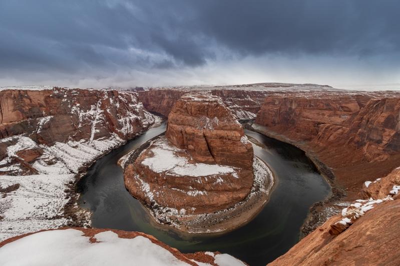 Horseshoe Bend Page Arizona met sneeuw