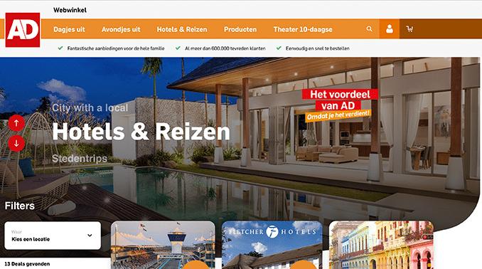 AD Webwinkel met reizen hotels of een stedentrip