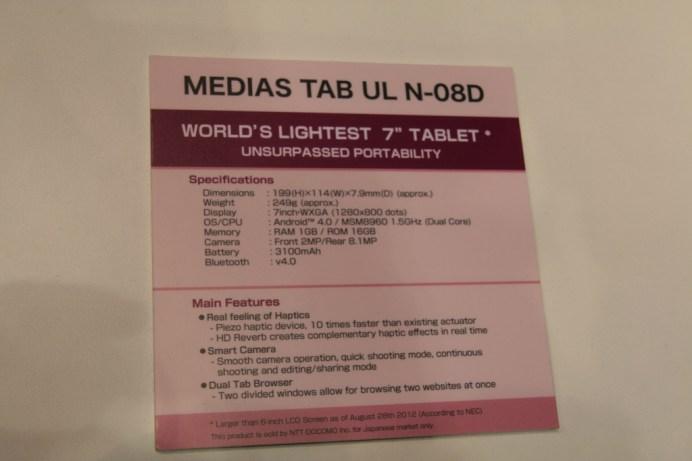 [MWC 2013] Prise en main de la tablette NEC Media Tab UL 8