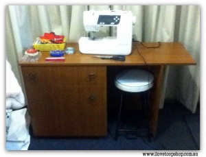 Nichole got This fold out sewing table with a draw full of bias binding, Velcro, buttons, sewing scissors, pins, hook & eyes, zips, cotton... just heaps! I was so happy!