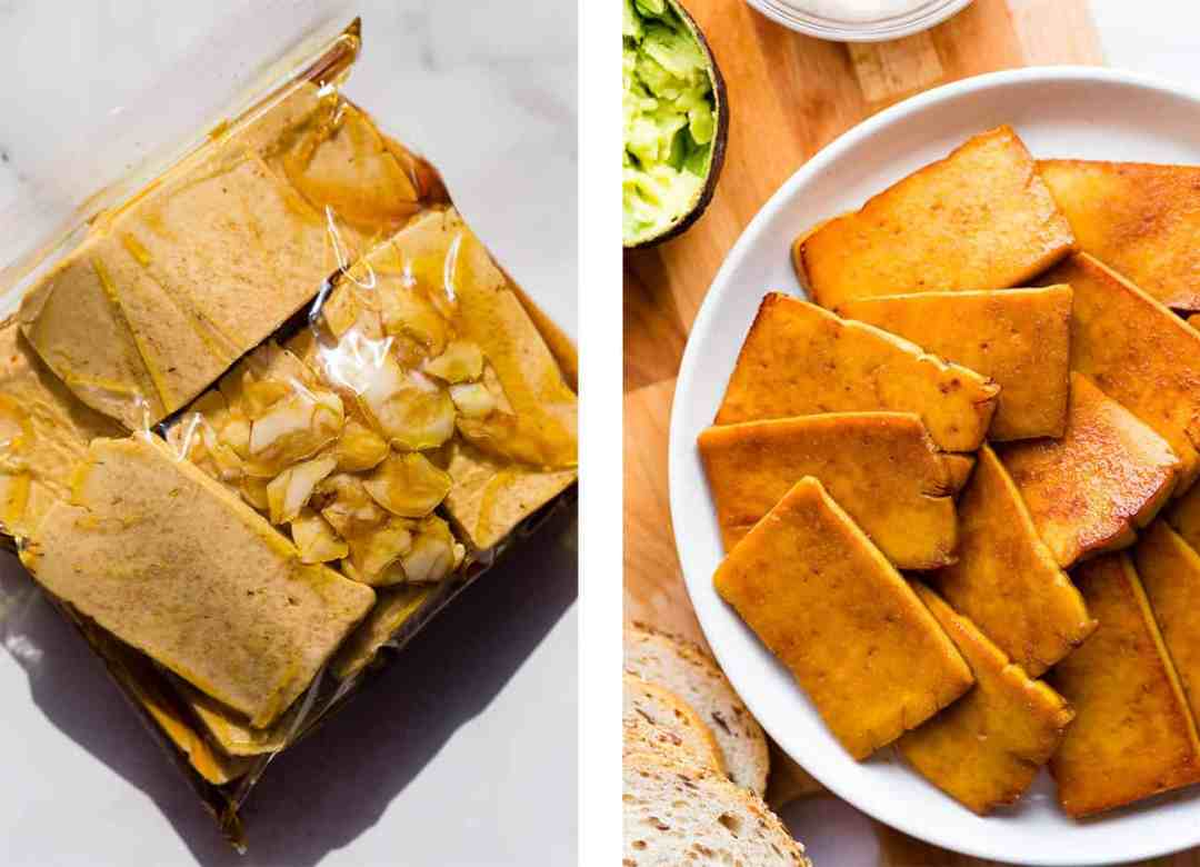 Left: marinating tofu in a plastic food storage bag. Right - cooked slices of marinated smoky maple tofu.