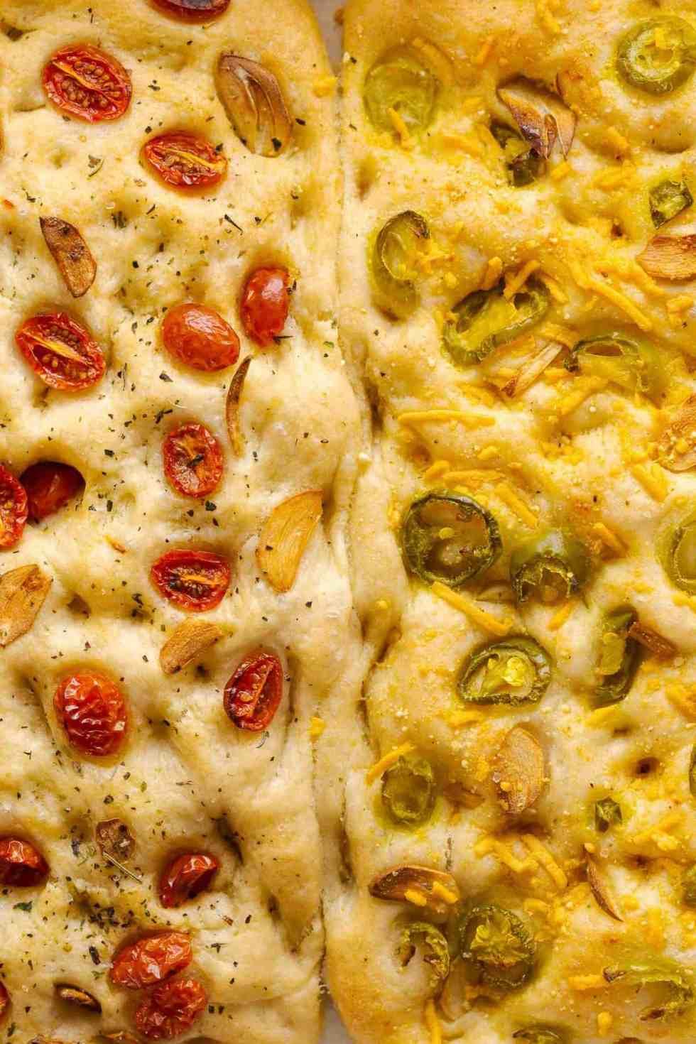 Left: Jalapeño & (Vegan) Cheese Focaccia. Right: Tomato, Herb & Garlic Focaccia