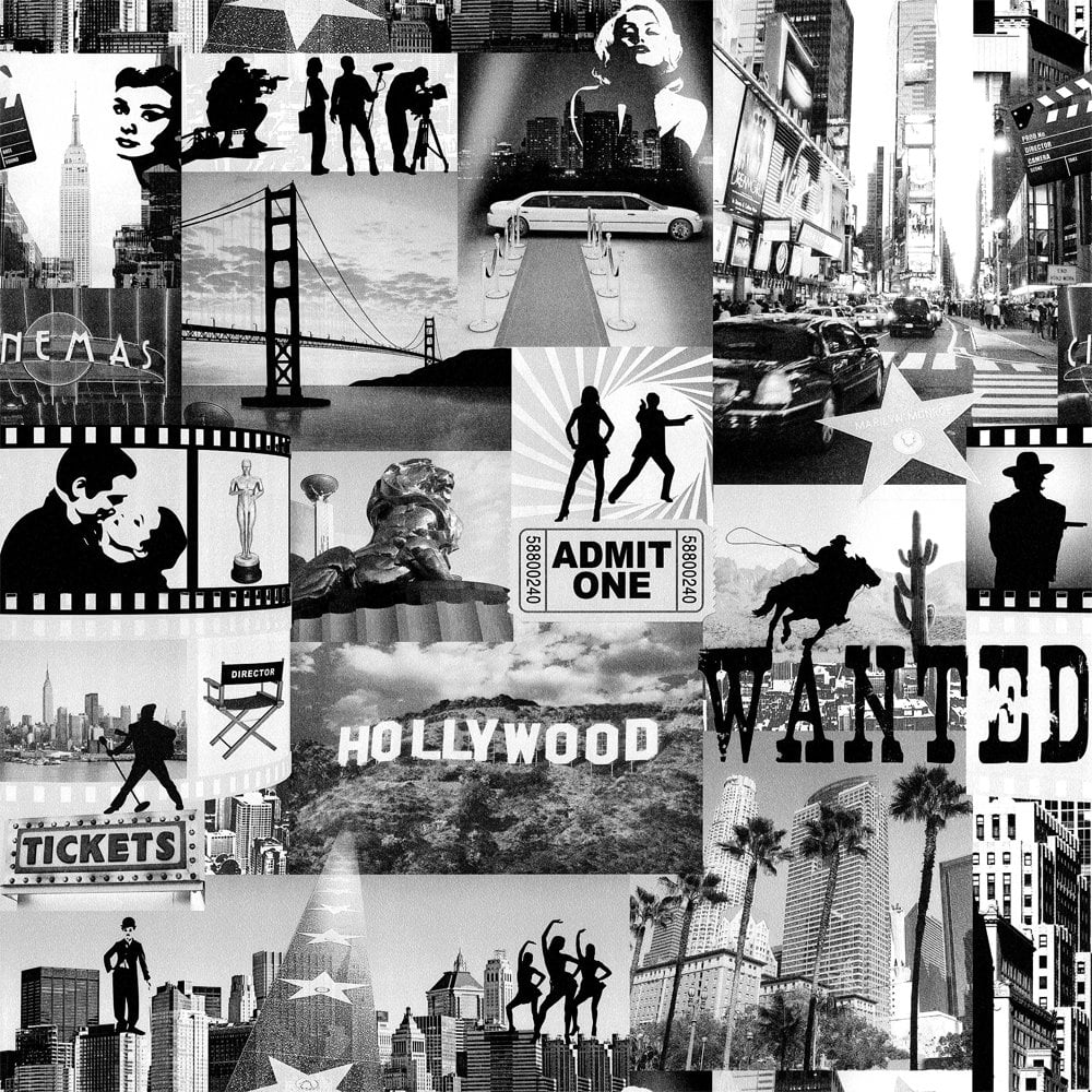 Buy Muriva Hollywood City Wallpaper Black White