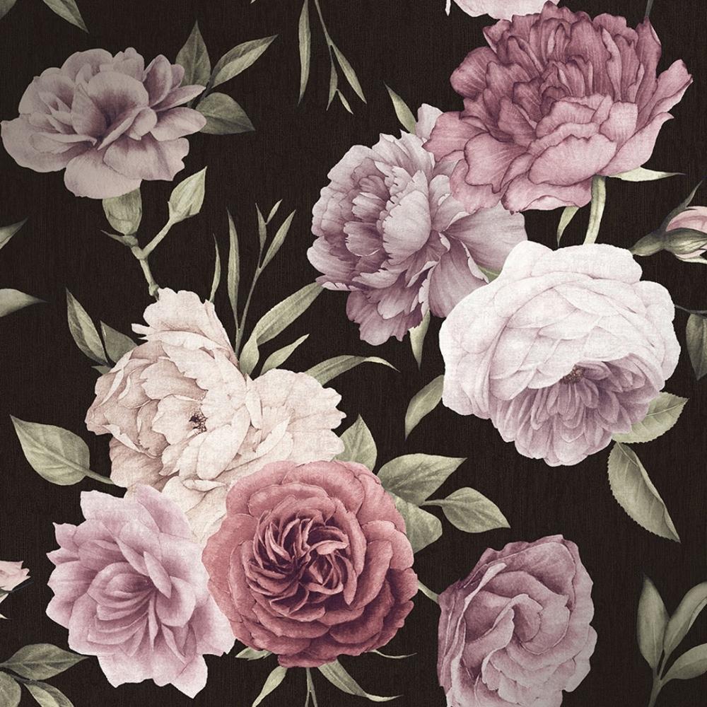 Midnight Floral Wallpaper Black Burgundy Wallpaper From I Love Wallpaper Uk
