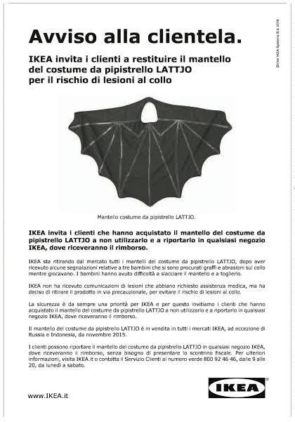 Ikea Ha Richiamato Il Mantello Di Un Costume Da Pipistrello
