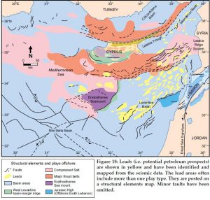 Carta geostrutturale del Mediterraneo orientale (in giallo i potenziali giacimenti di idrocarburi)