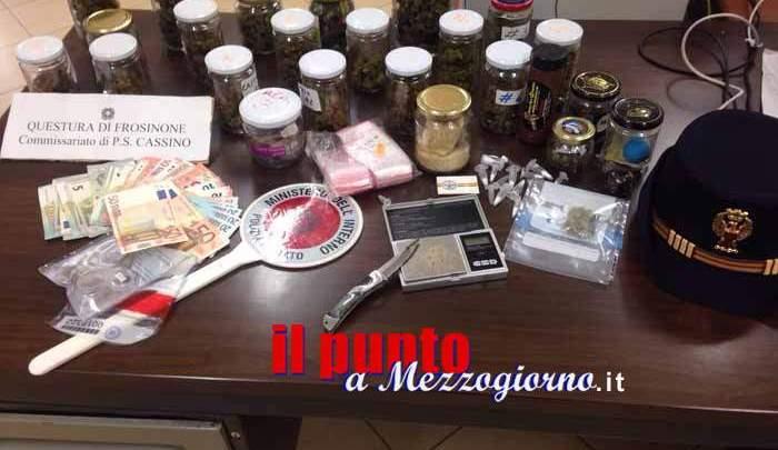 Spacciatore 18 enne arrestato a Cassino con 300 grammi di droga nascosta tra i libri di scuola