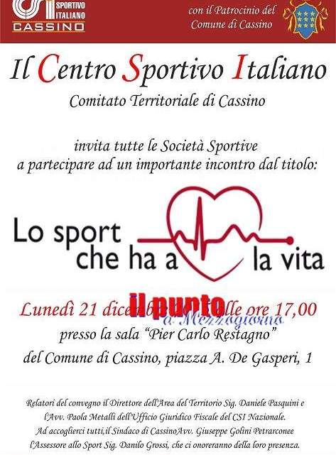 """""""Lo sport che ha a cuore la vita"""",convegno sull'uso obbligatorio del defibrillatore nelle gare sportive"""
