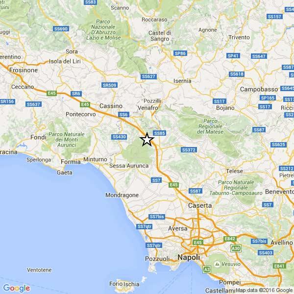 Terremoto nell'alto casertano, scossa di magnitudo 3.5