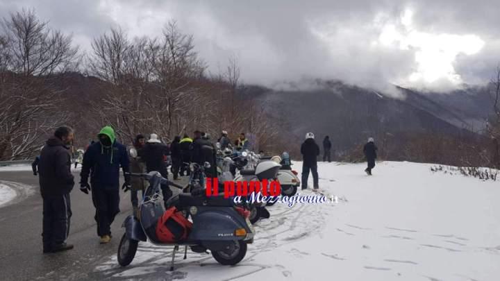 In Vespa da Artena a Campo Staffi di Filettino sfidando il freddo e la neve