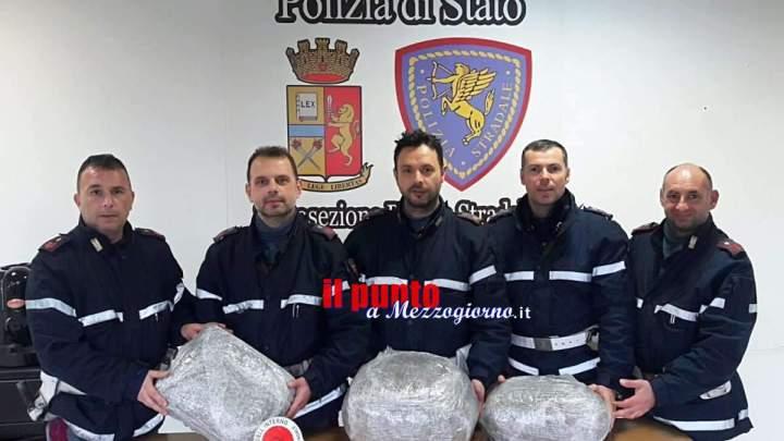 """Agenti di Cassino """"annusano"""" 10 chili di marijuana, arrestato 34enne"""