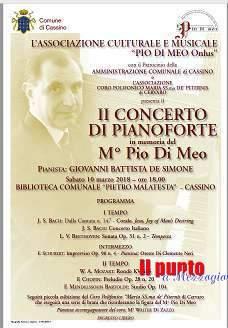 """Un concerto di pianoforte in ricordo del M° Pio Di Meo, sabato alla biblioteca """"P. Malatesta"""""""